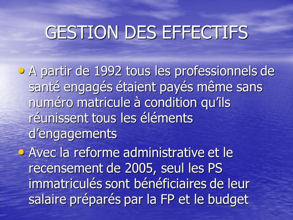 GESTION DES EFFECTIFS A partir de 1992 tous les professionnels de santé engagés étaient payés même sans numéro matricule à condition quils réunissent tous les éléments dengagements Avec la reforme administrative et le recensement de 2005, seul les PS immatriculés sont bénéficiaires de leur salaire préparés par la FP et le budget
