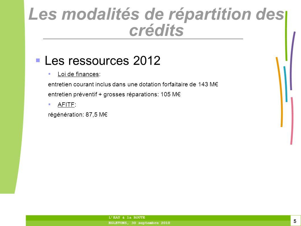 5 5 5 LEAU & la ROUTE EGLETONS, 30 septembre 2010 Les modalités de répartition des crédits Les ressources 2012 Loi de finances: entretien courant incl