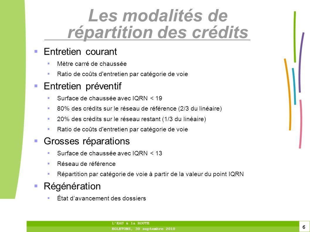 6 6 6 LEAU & la ROUTE EGLETONS, 30 septembre 2010 Les modalités de répartition des crédits Entretien courant Mètre carré de chaussée Ratio de coûts d'