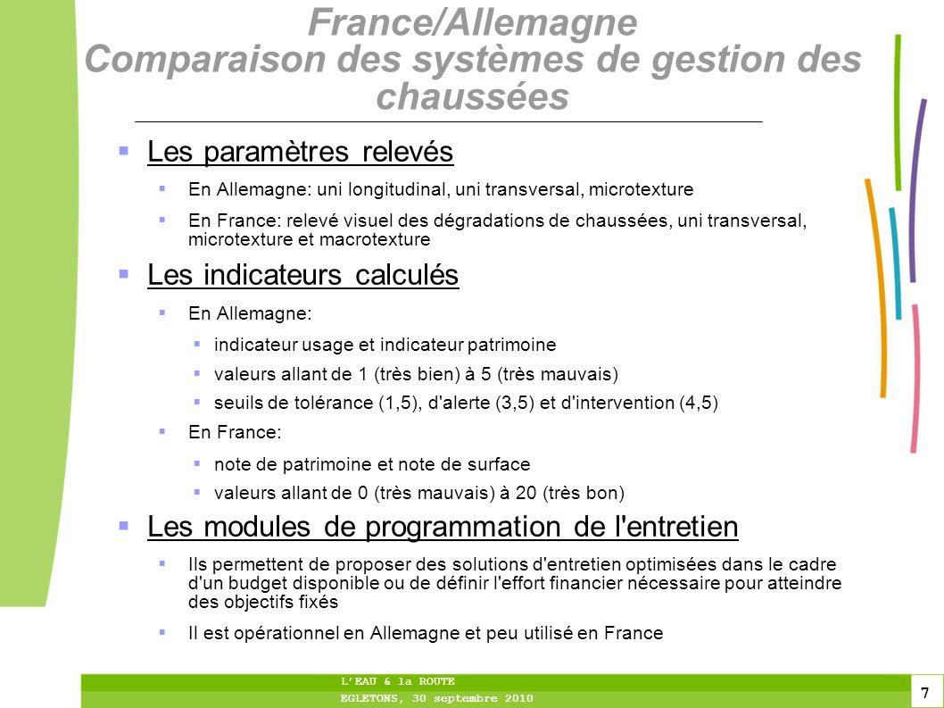 8 8 8 LEAU & la ROUTE EGLETONS, 30 septembre 2010 France/Allemagne Comparaison des systèmes de gestion des chaussées L expérimentation a porté sur 100 km d autoroutes et 100 km de routes fédérales en Allemagne Indicateur patrimoine Des écarts au niveau des résultats: Le réseau ausculté est meilleur selon le système d évaluation français Les deux systèmes ne prennent pas en compte de la même façon les dégradations de revêtement et leur niveau de gravité Le système d évaluation français est plus « financier » (en cas de pourcentage élevé de fissures longitudinales, proposition d un renouvellement mince de la couche de surface, opération peu onéreuse => note 18) alors que le système d évaluation allemand est plus « technique » (une section présentant un nombre important de fissures, graves ou non, entraînera un indicateur patrimoine faible) Indicateur de surface Le réseau ausculté est meilleur selon le système d évaluation allemand (prise en compte de l uni longitudinal) que selon le système d évaluation français (prise en compte de la macrotexture)