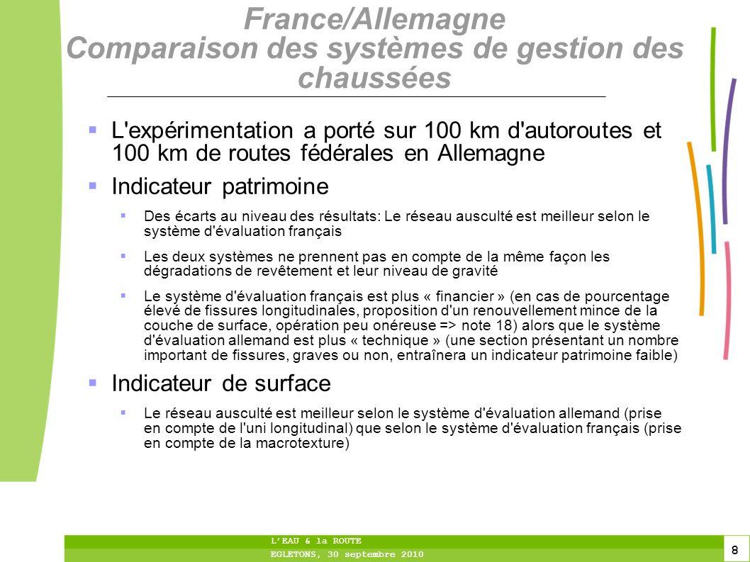 8 8 8 LEAU & la ROUTE EGLETONS, 30 septembre 2010 France/Allemagne Comparaison des systèmes de gestion des chaussées L'expérimentation a porté sur 100