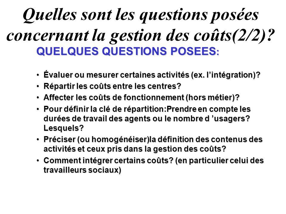 Quelles sont les questions posées concernant la gestion des coûts(2/2)? QUELQUES QUESTIONS POSEES : Évaluer ou mesurer certaines activités (ex. lintég