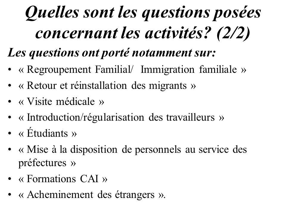 Quelles sont les questions posées concernant les activités? (2/2) Les questions ont porté notamment sur: « Regroupement Familial/ Immigration familial