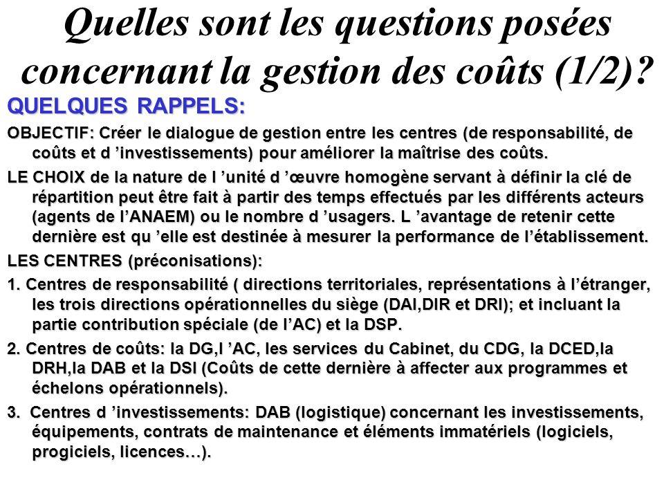 Quelles sont les questions posées concernant la gestion des coûts (1/2)? QUELQUES RAPPELS: OBJECTIF: Créer le dialogue de gestion entre les centres (d