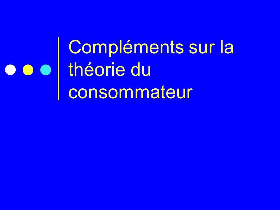 Compléments sur la théorie du consommateur