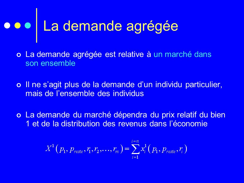 La demande agrégée La demande agrégée est relative à un marché dans son ensemble Il ne sagit plus de la demande dun individu particulier, mais de lens