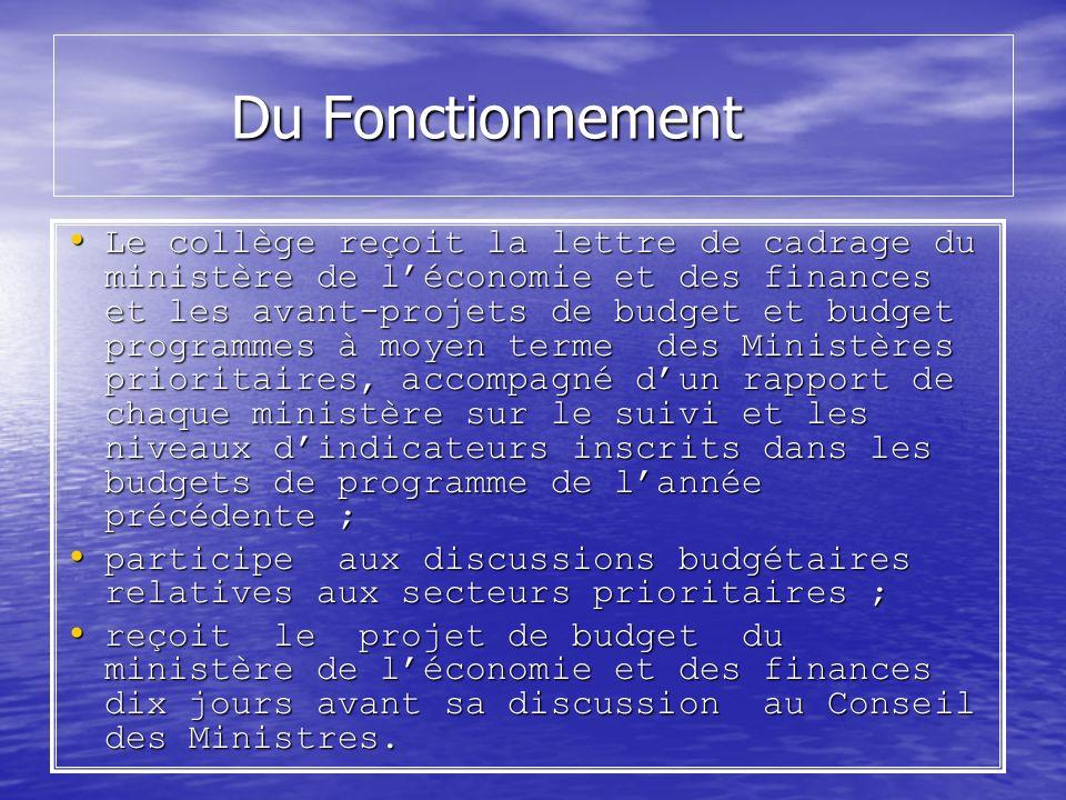 Du Fonctionnement Du Fonctionnement Le collège reçoit la lettre de cadrage du ministère de léconomie et des finances et les avant-projets de budget et