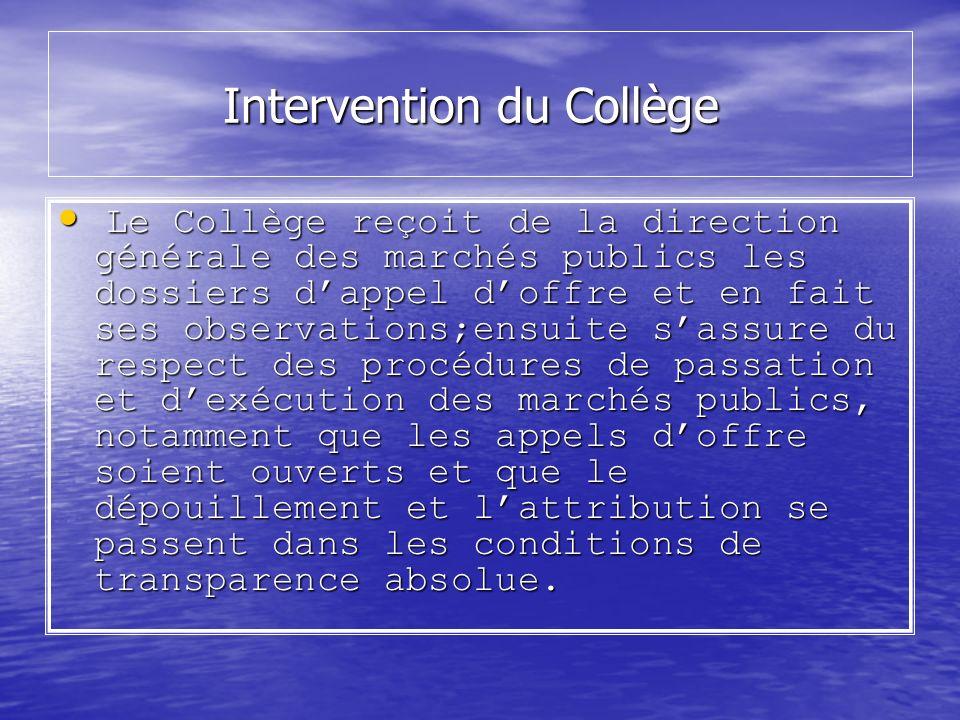 Intervention du Collège Intervention du Collège Le Collège reçoit de la direction générale des marchés publics les dossiers dappel doffre et en fait s