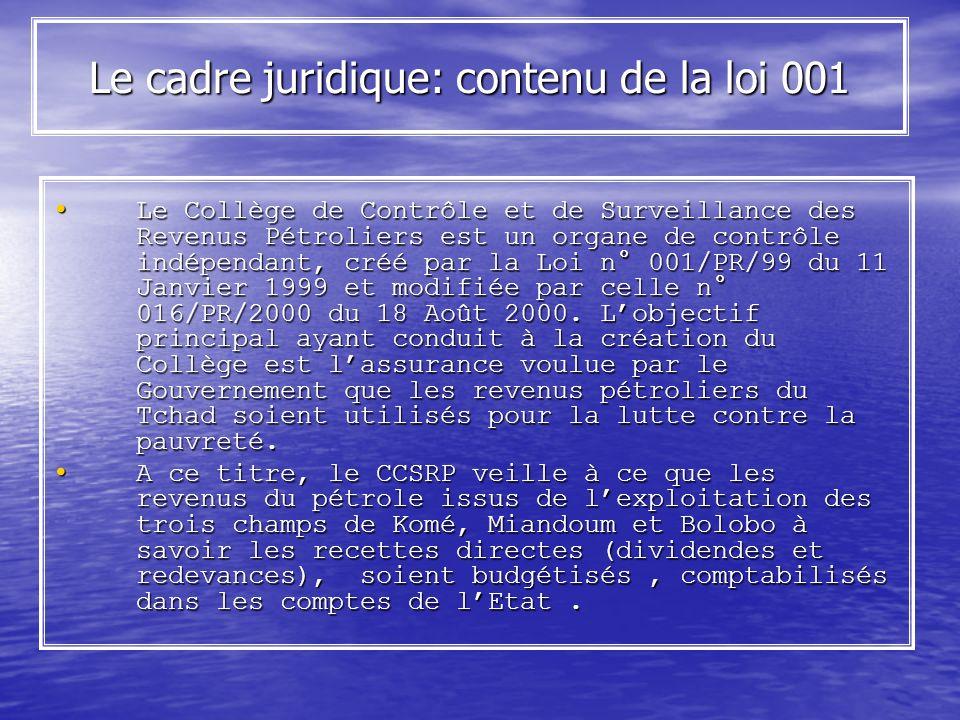 Le cadre juridique: contenu de la loi 001 Le Collège de Contrôle et de Surveillance des Revenus Pétroliers est un organe de contrôle indépendant, créé