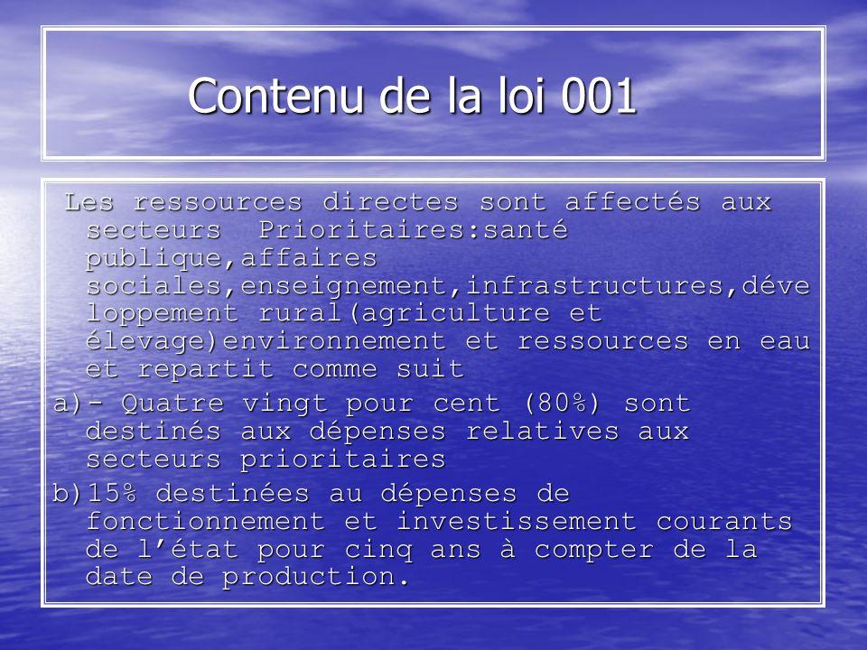 Contenu de la loi 001 Contenu de la loi 001 Les ressources directes sont affectés aux secteurs Prioritaires:santé publique,affaires sociales,enseignem