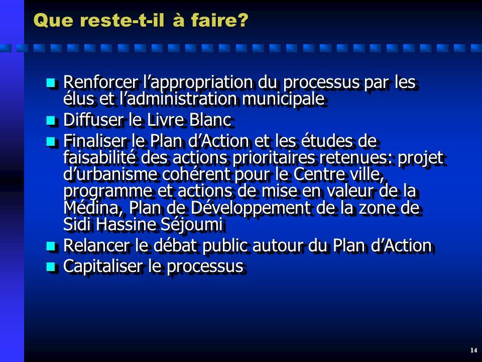 13 Les principaux acquis du processus La SDVT est une expérience de planification et de gestion urbaines pilote en Tunisie et qui fait école (Sfax) La SDVT est une expérience de planification et de gestion urbaines pilote en Tunisie et qui fait école (Sfax) La SDVT a initié un débat sur lavenir de la ville qui mérite dêtre poursuivi La SDVT a initié un débat sur lavenir de la ville qui mérite dêtre poursuivi Un important travail dexpertise a été mené dans des domaines névralgiques Un important travail dexpertise a été mené dans des domaines névralgiques Des documents de référence ont été produits: Diagnostic, Livre Blanc, Stratégie de communication Des documents de référence ont été produits: Diagnostic, Livre Blanc, Stratégie de communication Une couverture médiatique a accompagné le processus Une couverture médiatique a accompagné le processus La SDVT est une expérience de planification et de gestion urbaines pilote en Tunisie et qui fait école (Sfax) La SDVT est une expérience de planification et de gestion urbaines pilote en Tunisie et qui fait école (Sfax) La SDVT a initié un débat sur lavenir de la ville qui mérite dêtre poursuivi La SDVT a initié un débat sur lavenir de la ville qui mérite dêtre poursuivi Un important travail dexpertise a été mené dans des domaines névralgiques Un important travail dexpertise a été mené dans des domaines névralgiques Des documents de référence ont été produits: Diagnostic, Livre Blanc, Stratégie de communication Des documents de référence ont été produits: Diagnostic, Livre Blanc, Stratégie de communication Une couverture médiatique a accompagné le processus Une couverture médiatique a accompagné le processus