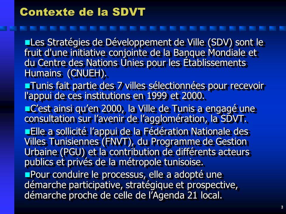 2 Contexte de la SDVT n Les Stratégies de Développement de Ville (SDV) sont le fruit d une initiative conjointe de la Banque Mondiale et du Centre des Nations Unies pour les Établissements Humains (CNUEH).