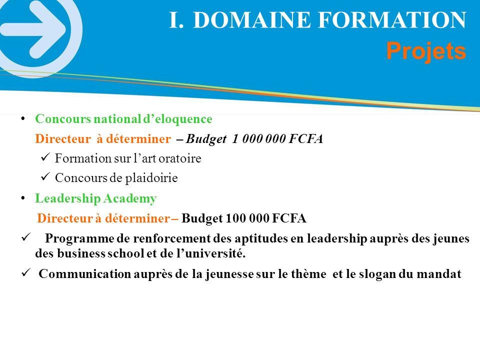 Projets I.DOMAINE FORMATION Concours national deloquence Directeur à déterminer – Budget 1 000 000 FCFA Formation sur lart oratoire Concours de plaido