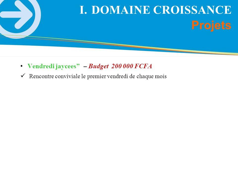 Vendredi jaycees – Budget 200 000 FCFA Rencontre conviviale le premier vendredi de chaque mois Projets I.DOMAINE CROISSANCE