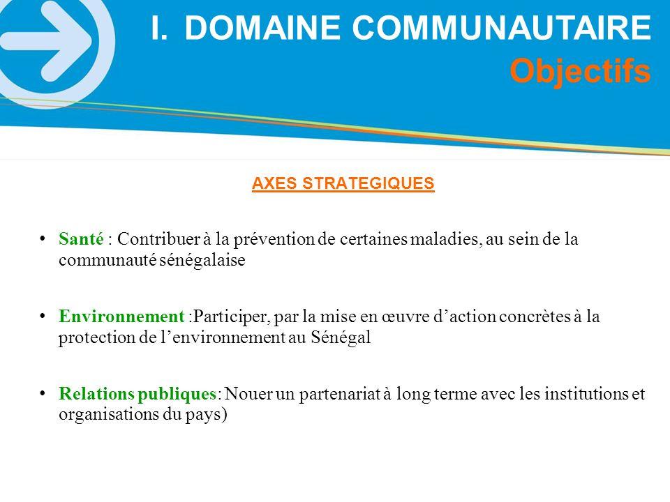 AXES STRATEGIQUES Santé : Contribuer à la prévention de certaines maladies, au sein de la communauté sénégalaise Environnement :Participer, par la mis
