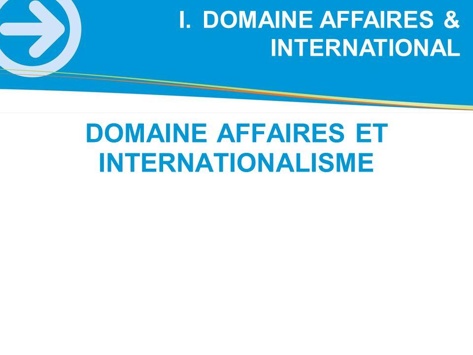 I.DOMAINE AFFAIRES & INTERNATIONAL DOMAINE AFFAIRES ET INTERNATIONALISME