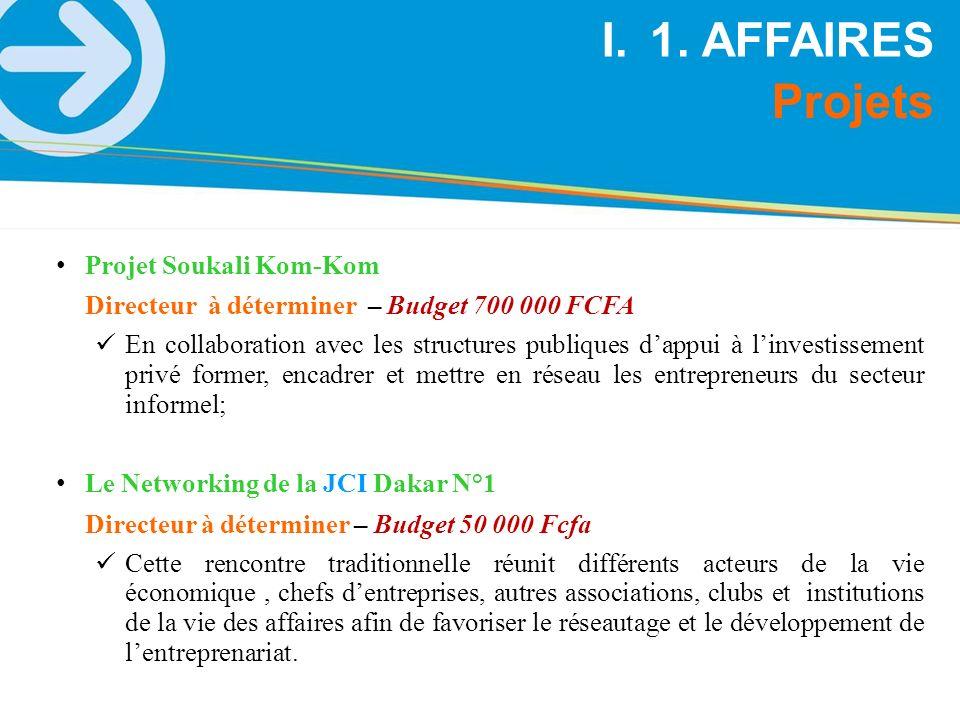 Projets I.1. AFFAIRES Projet Soukali Kom-Kom Directeur à déterminer – Budget 700 000 FCFA En collaboration avec les structures publiques dappui à linv