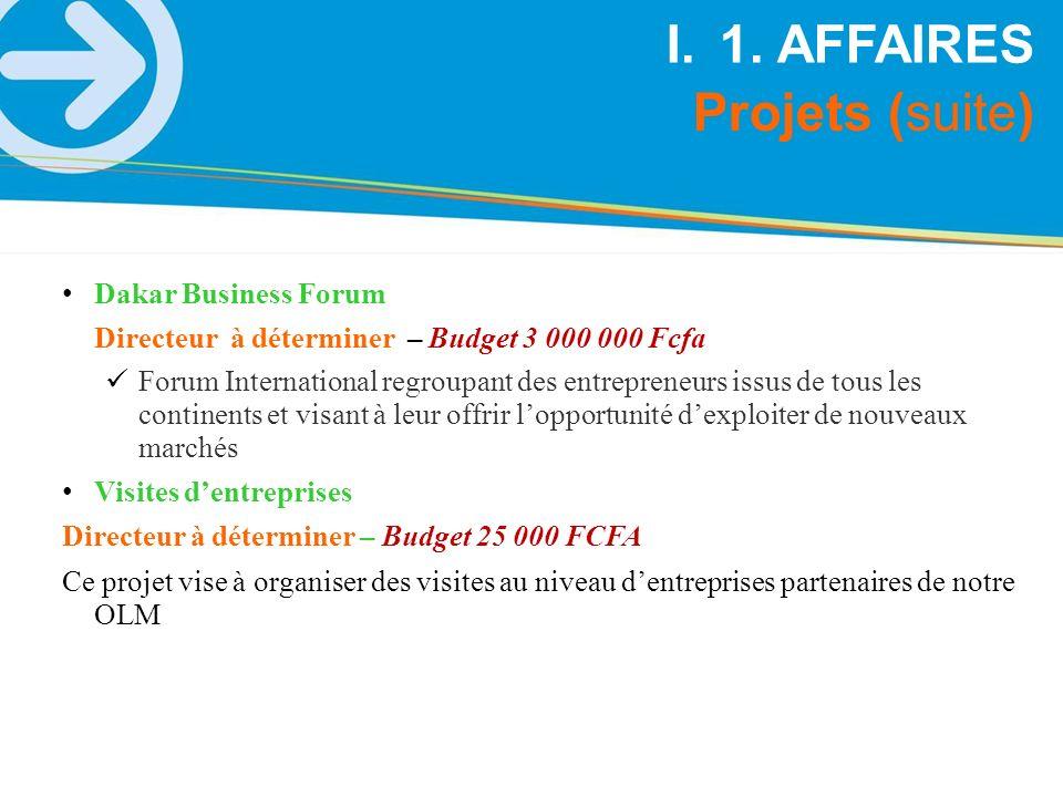 Projets (suite) I.1. AFFAIRES Dakar Business Forum Directeur à déterminer – Budget 3 000 000 Fcfa Forum International regroupant des entrepreneurs iss