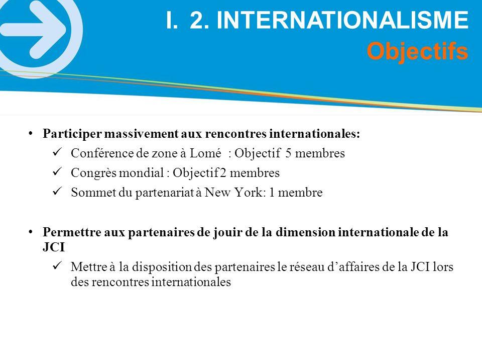 Participer massivement aux rencontres internationales: Conférence de zone à Lomé : Objectif 5 membres Congrès mondial : Objectif 2 membres Sommet du p