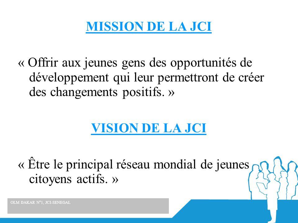 MISSION DE LA JCI « Offrir aux jeunes gens des opportunités de développement qui leur permettront de créer des changements positifs. » VISION DE LA JC