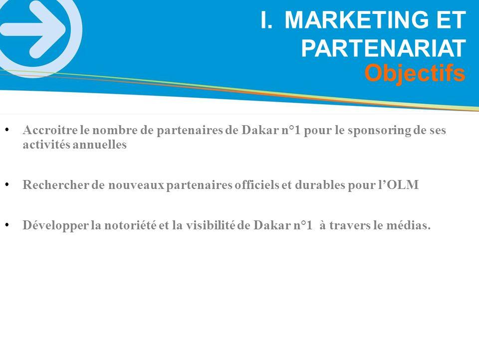 Accroitre le nombre de partenaires de Dakar n°1 pour le sponsoring de ses activités annuelles Rechercher de nouveaux partenaires officiels et durables