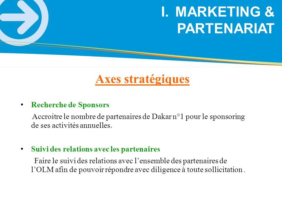 Axes stratégiques I.MARKETING & PARTENARIAT Recherche de Sponsors Accroitre le nombre de partenaires de Dakar n°1 pour le sponsoring de ses activités
