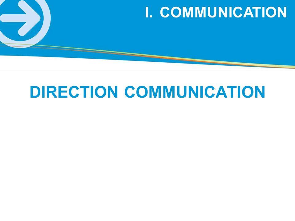 I.COMMUNICATION DIRECTION COMMUNICATION
