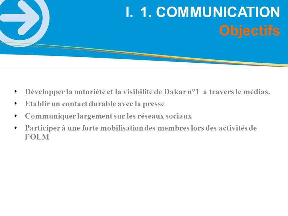 I.1. COMMUNICATION Objectifs Développer la notoriété et la visibilité de Dakar n°1 à travers le médias. Etablir un contact durable avec la presse Comm