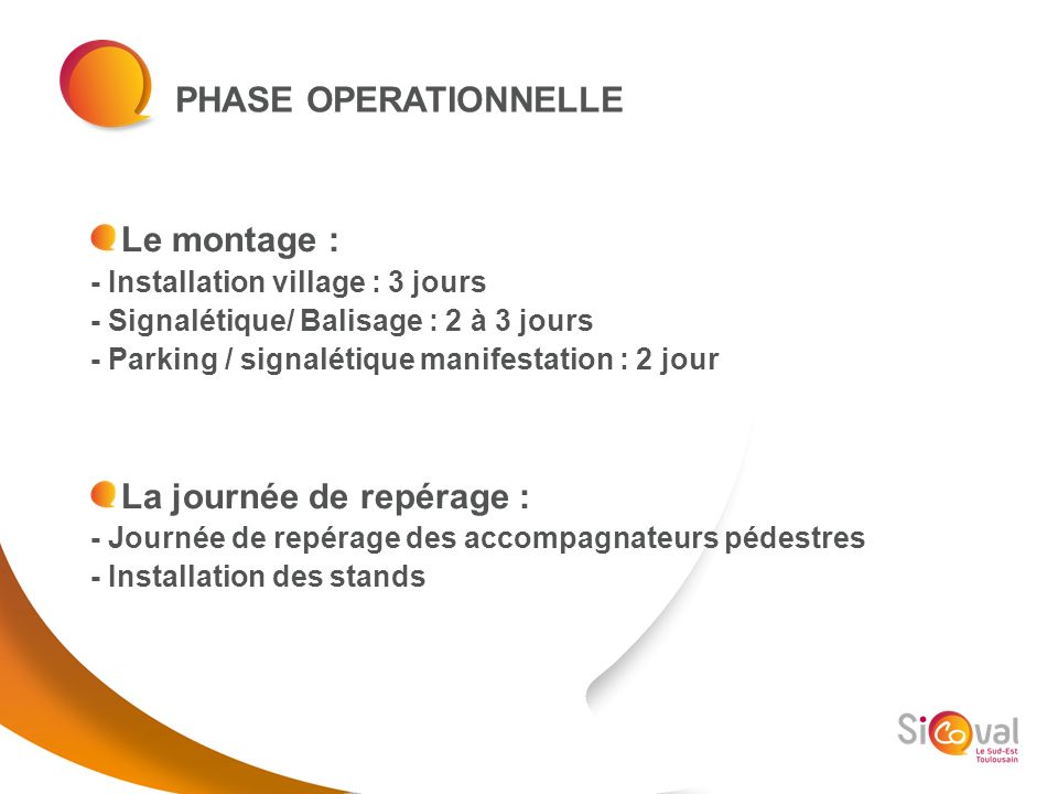 PHASE OPERATIONNELLE Le montage : - Installation village : 3 jours - Signalétique/ Balisage : 2 à 3 jours - Parking / signalétique manifestation : 2 j