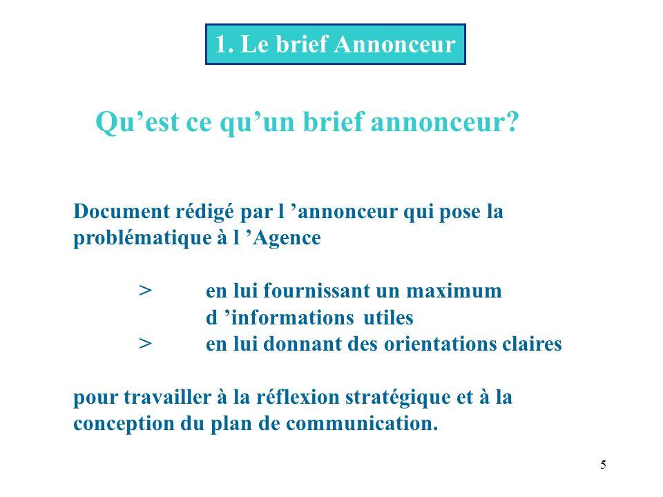 5 1.Le brief Annonceur Quest ce quun brief annonceur.