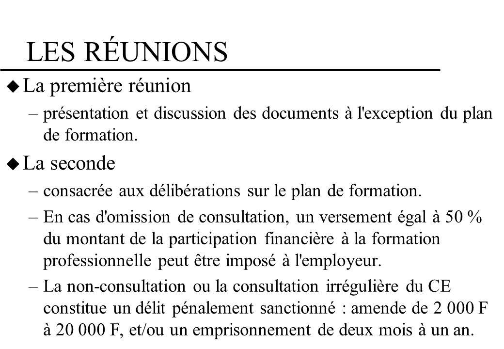 LES RÉUNIONS La première réunion –présentation et discussion des documents à l'exception du plan de formation. La seconde –consacrée aux délibérations