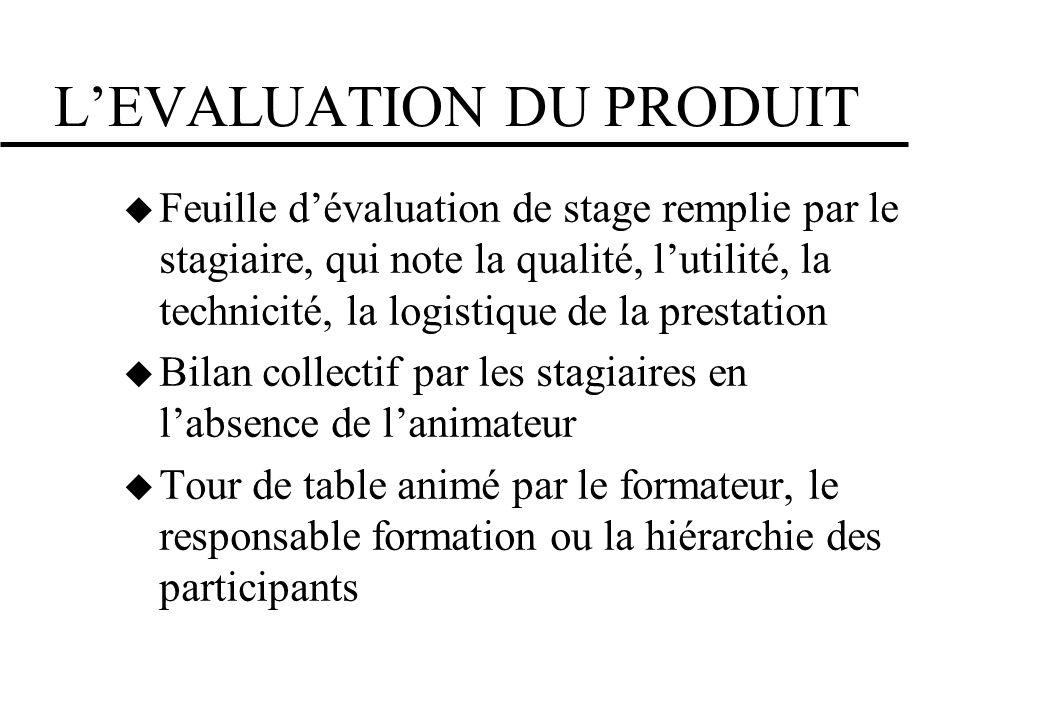 LEVALUATION DU PRODUIT Feuille dévaluation de stage remplie par le stagiaire, qui note la qualité, lutilité, la technicité, la logistique de la presta