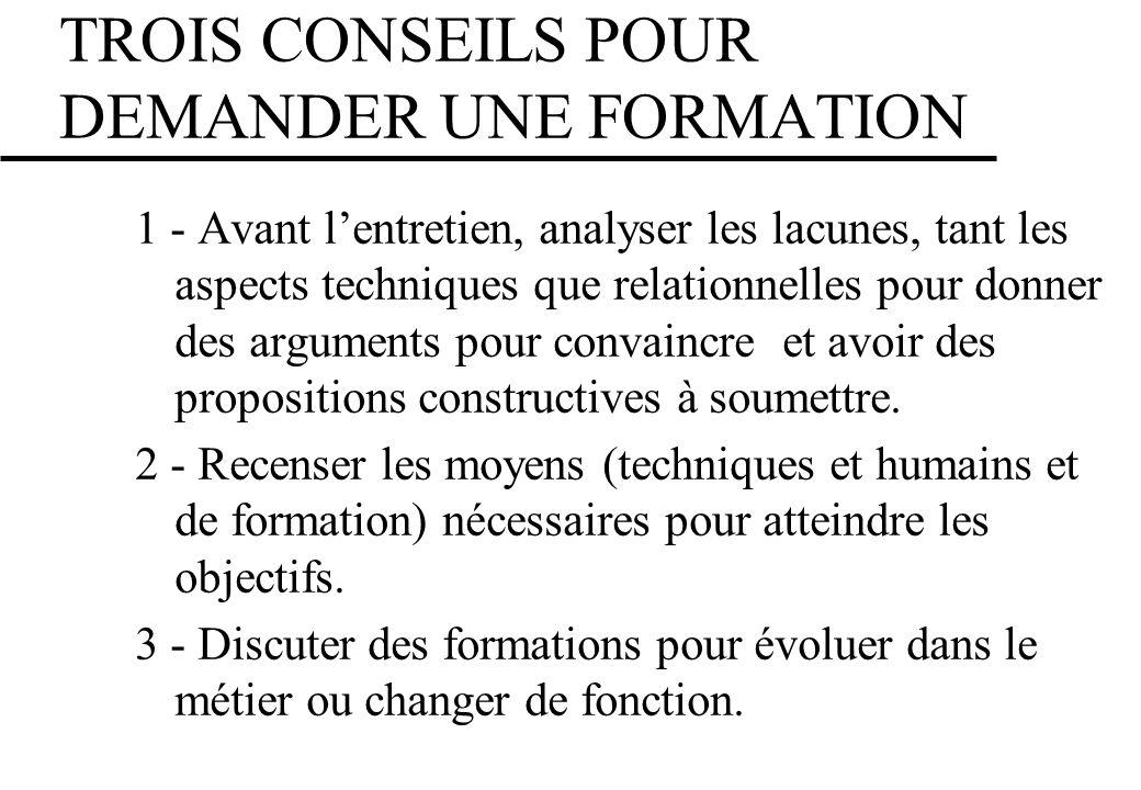 TROIS CONSEILS POUR DEMANDER UNE FORMATION 1 - Avant lentretien, analyser les lacunes, tant les aspects techniques que relationnelles pour donner des