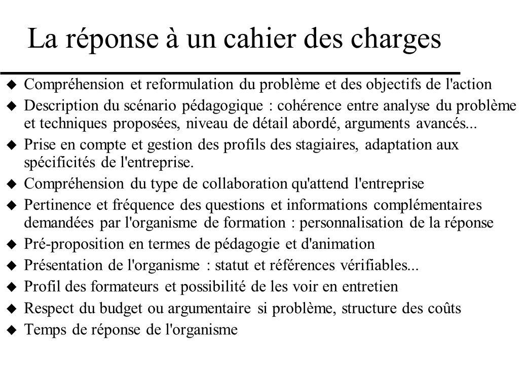 La réponse à un cahier des charges Compréhension et reformulation du problème et des objectifs de l'action Description du scénario pédagogique : cohér
