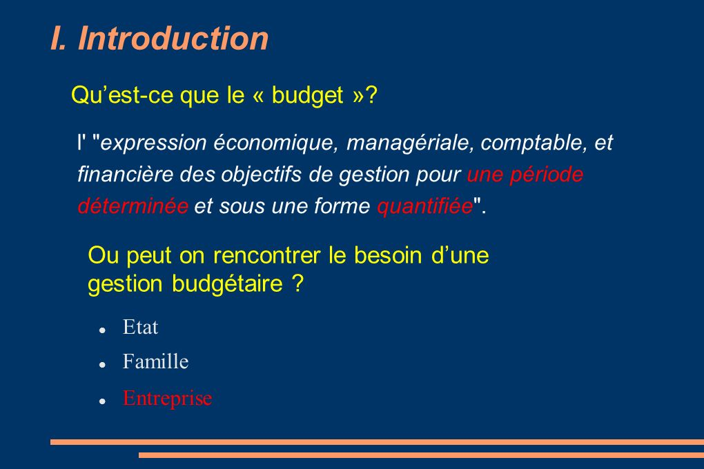 I. Introduction Quest-ce que le « budget »? l'