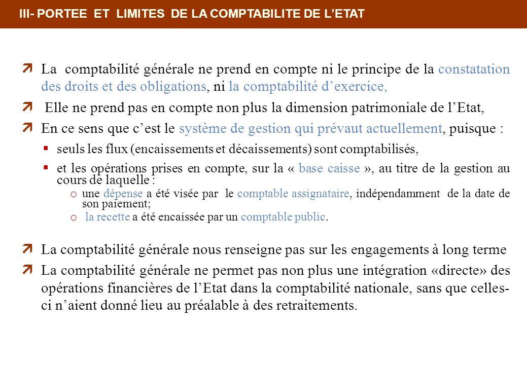 III- PORTEE ET LIMITES DE LA COMPTABILITE DE LETAT La comptabilité générale ne prend en compte ni le principe de la constatation des droits et des obl
