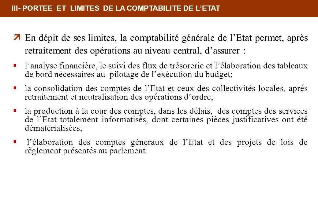 III- PORTEE ET LIMITES DE LA COMPTABILITE DE LETAT En dépit de ses limites, la comptabilité générale de lEtat permet, après retraitement des opération