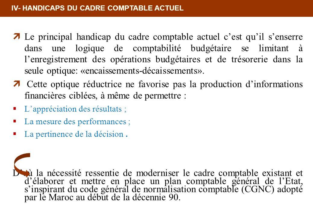 IV- HANDICAPS DU CADRE COMPTABLE ACTUEL Le principal handicap du cadre comptable actuel cest quil senserre dans une logique de comptabilité budgétaire