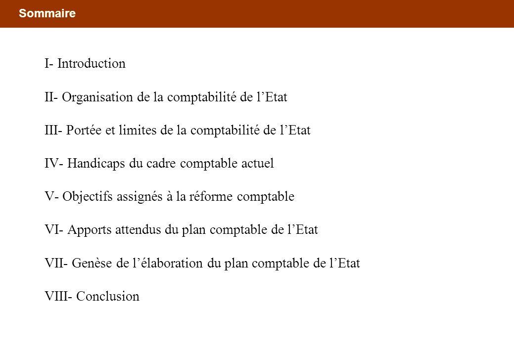 Sommaire I- Introduction II- Organisation de la comptabilité de lEtat III- Portée et limites de la comptabilité de lEtat IV- Handicaps du cadre compta