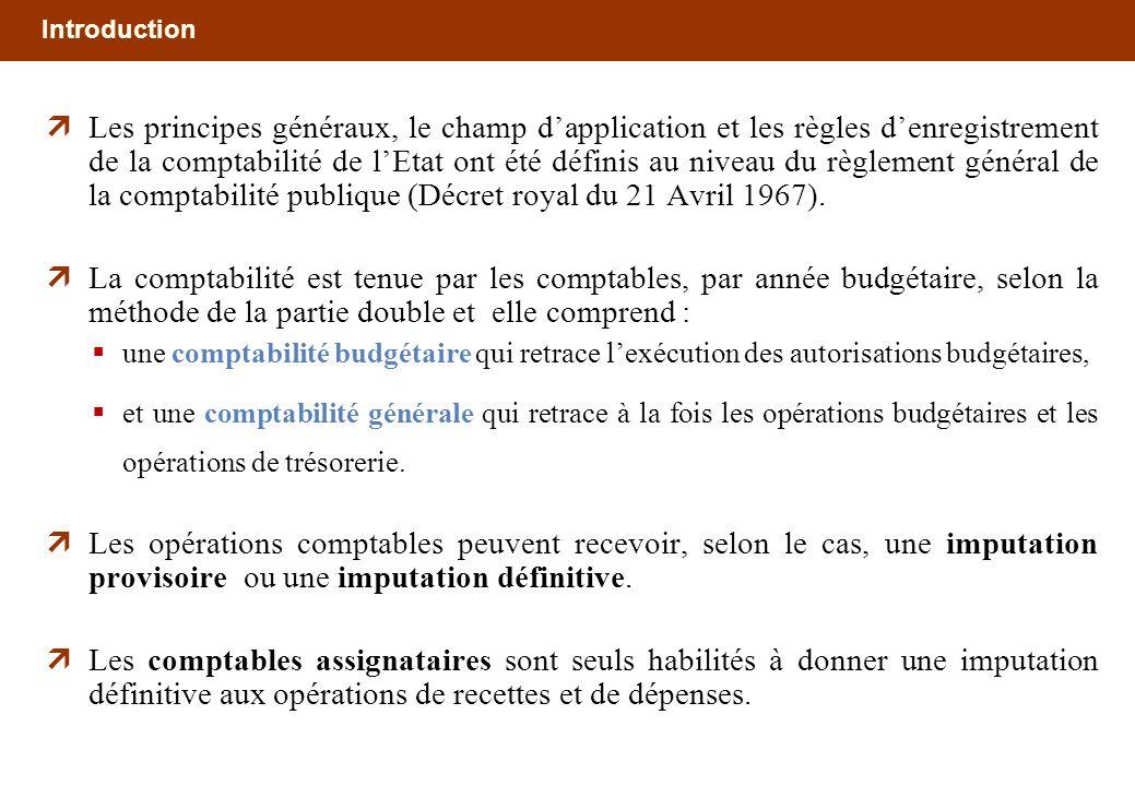 Introduction Les principes généraux, le champ dapplication et les règles denregistrement de la comptabilité de lEtat ont été définis au niveau du règl