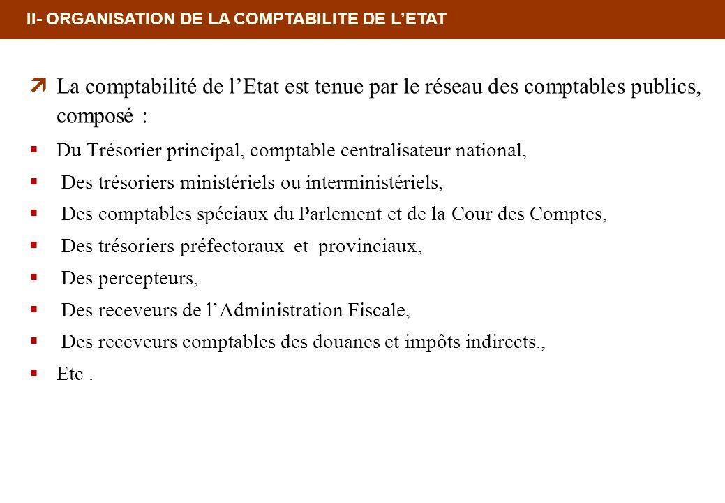 II- ORGANISATION DE LA COMPTABILITE DE LETAT La comptabilité de lEtat est tenue par le réseau des comptables publics, composé : Du Trésorier principal