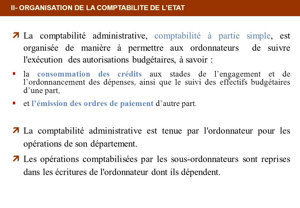 II- ORGANISATION DE LA COMPTABILITE DE LETAT La comptabilité administrative, comptabilité à partie simple, est organisée de manière à permettre aux or