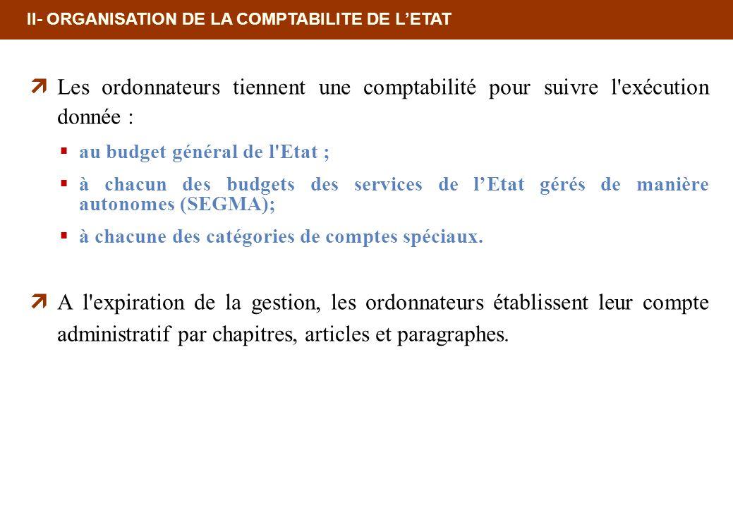 II- ORGANISATION DE LA COMPTABILITE DE LETAT Les ordonnateurs tiennent une comptabilité pour suivre l'exécution donnée : au budget général de l'Etat ;