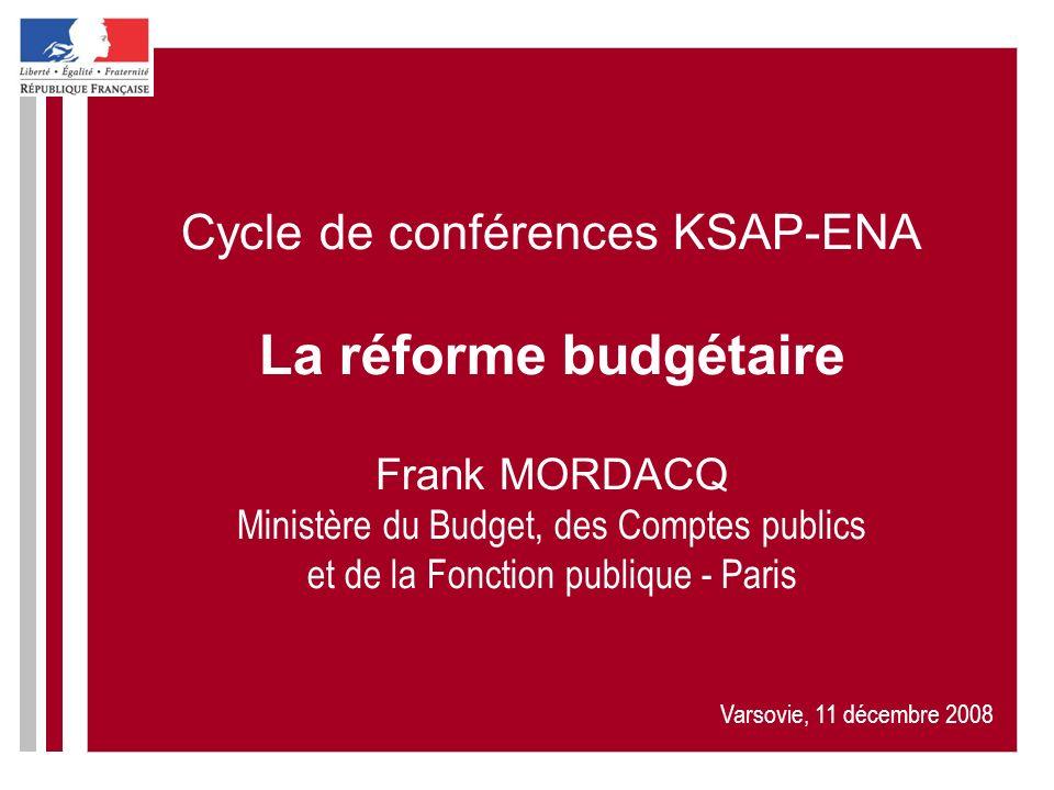 Cycle de conférences KSAP-ENA La réforme budgétaire Frank MORDACQ Ministère du Budget, des Comptes publics et de la Fonction publique - Paris Varsovie