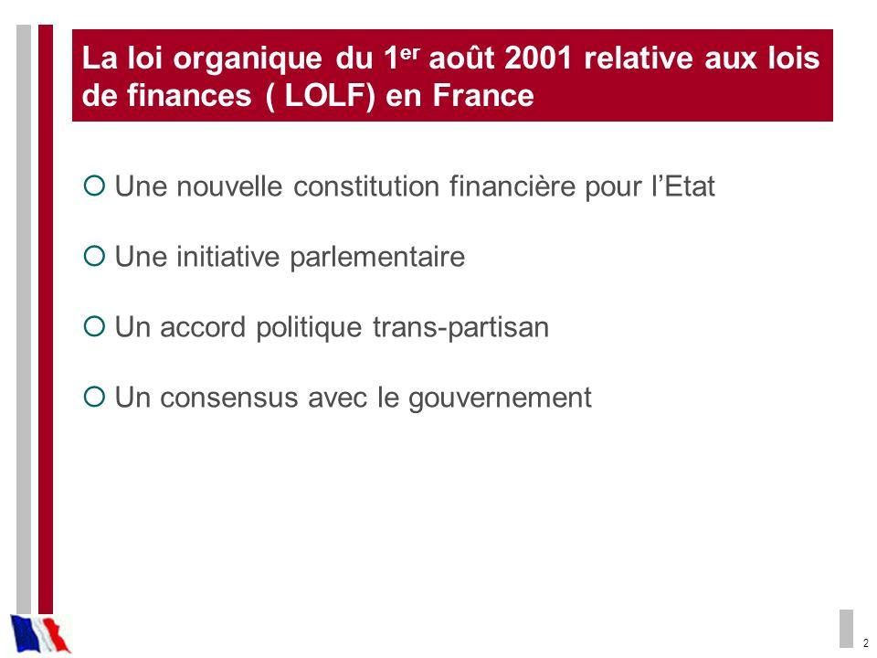 2 La loi organique du 1 er août 2001 relative aux lois de finances ( LOLF) en France Une nouvelle constitution financière pour lEtat Une initiative pa