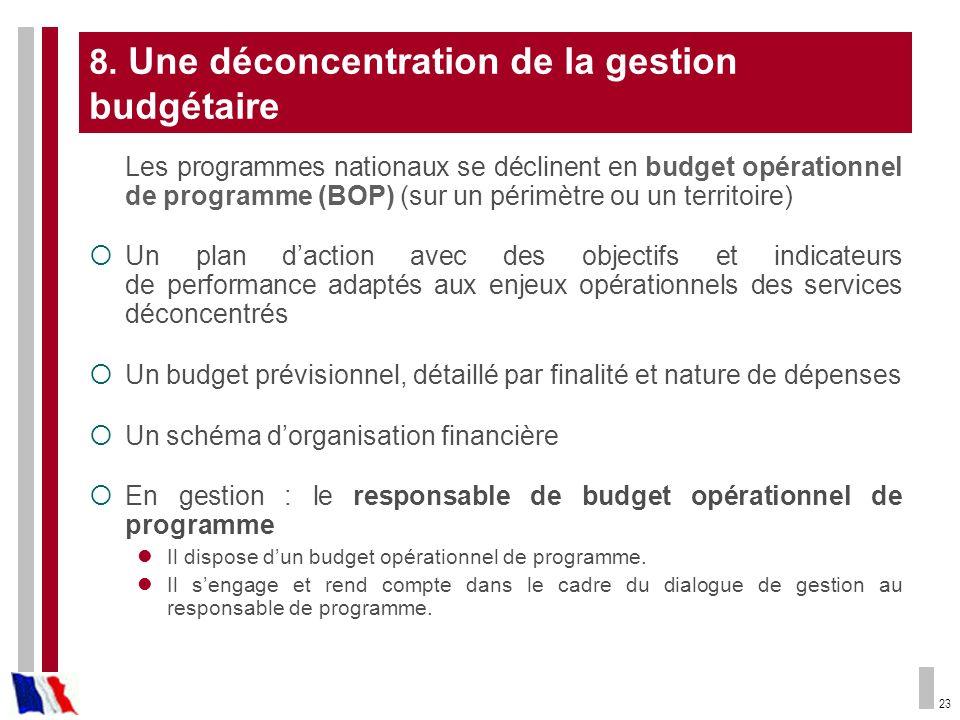 23 8. Une déconcentration de la gestion budgétaire Les programmes nationaux se déclinent en budget opérationnel de programme (BOP) (sur un périmètre o