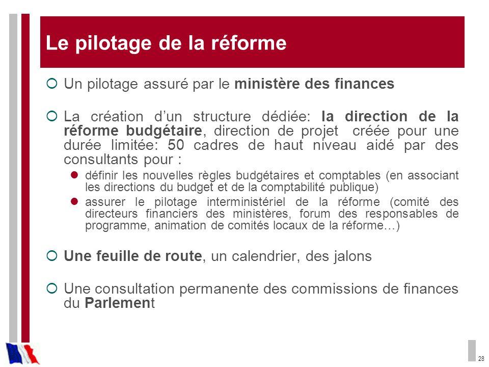 28 Le pilotage de la réforme Un pilotage assuré par le ministère des finances La création dun structure dédiée: la direction de la réforme budgétaire,