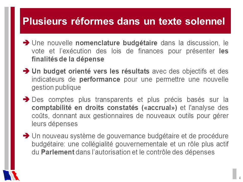 4 Plusieurs réformes dans un texte solennel Une nouvelle nomenclature budgétaire dans la discussion, le vote et lexécution des lois de finances pour p