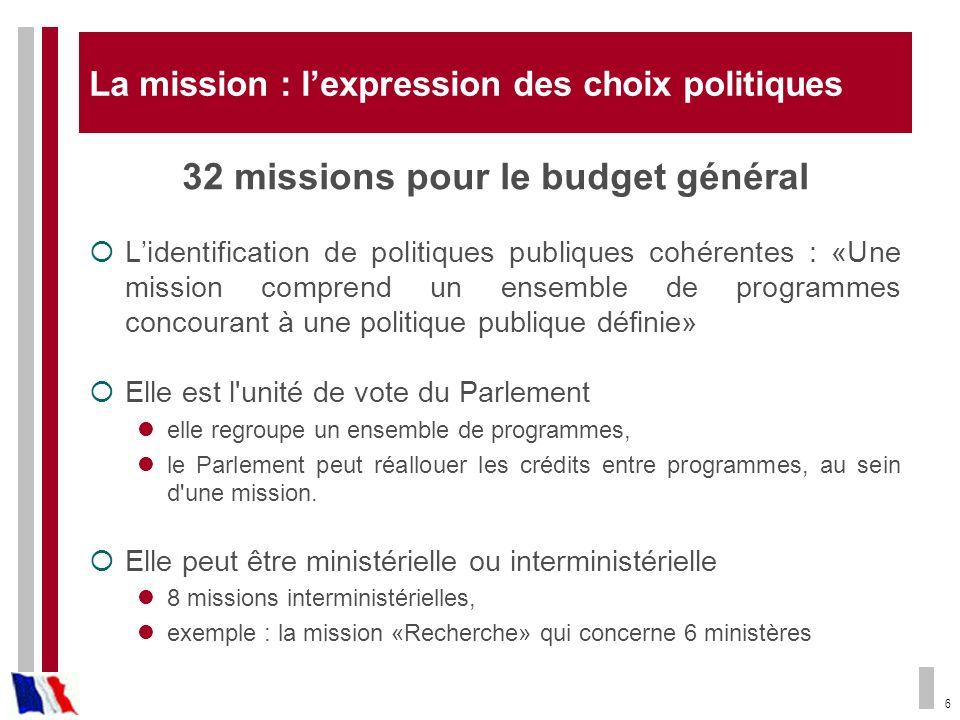 6 La mission : lexpression des choix politiques 32 missions pour le budget général Lidentification de politiques publiques cohérentes : «Une mission c