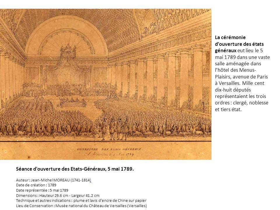 La cérémonie douverture des états généraux eut lieu le 5 mai 1789 dans une vaste salle aménagée dans lhôtel des Menus- Plaisirs, avenue de Paris à Ver